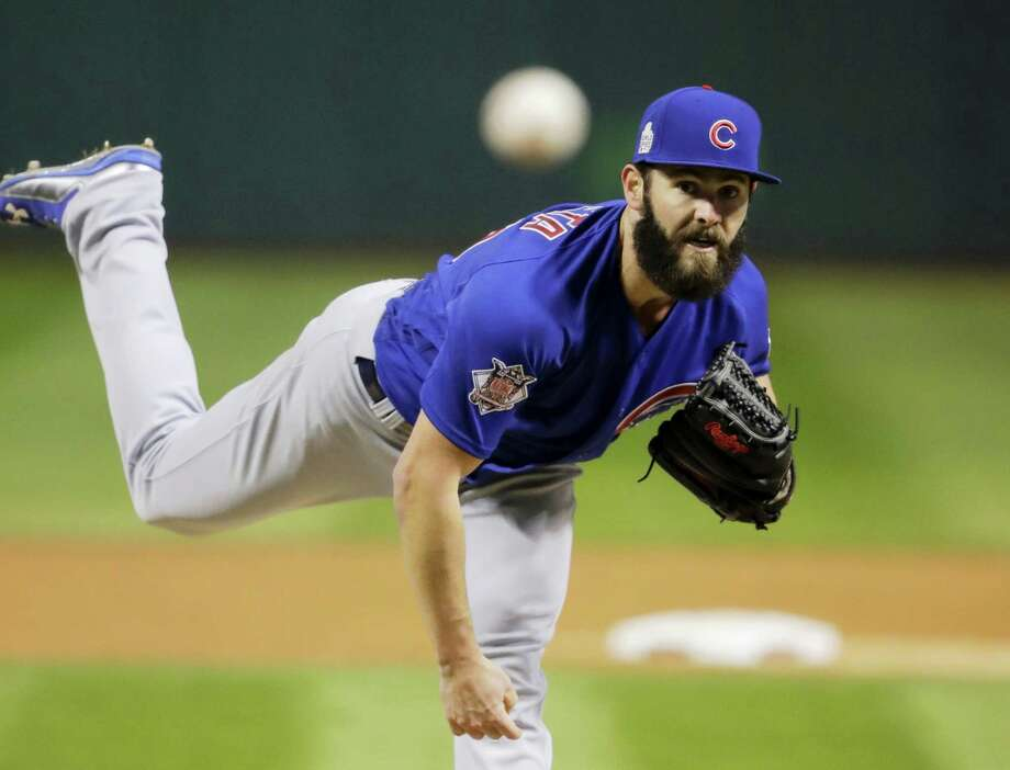 Chicago Cubs starting pitcher Jake Arrieta throws during the first inning of Game 2 of the World Series against the Cleveland Indians Wednesday in Cleveland. The Cubs won 5-1 to even the series. Photo: GENE J. PUSKAR - THE ASSOCIATED PRESS   / Copyright 2016 The Associated Press. All rights reserved.
