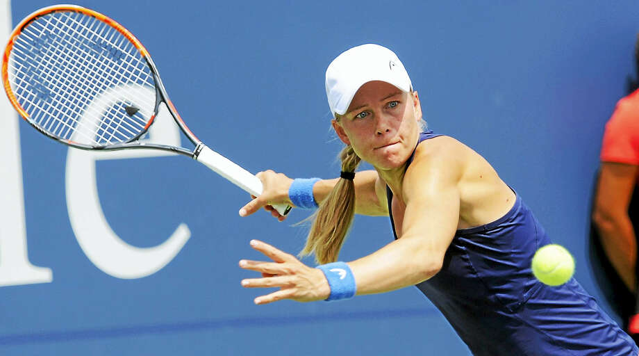 Johanna Larsson gets set to hit a return to Roberta Vinci in their quarterfinal match on Thursday. Photo: Bob Child — For The Register