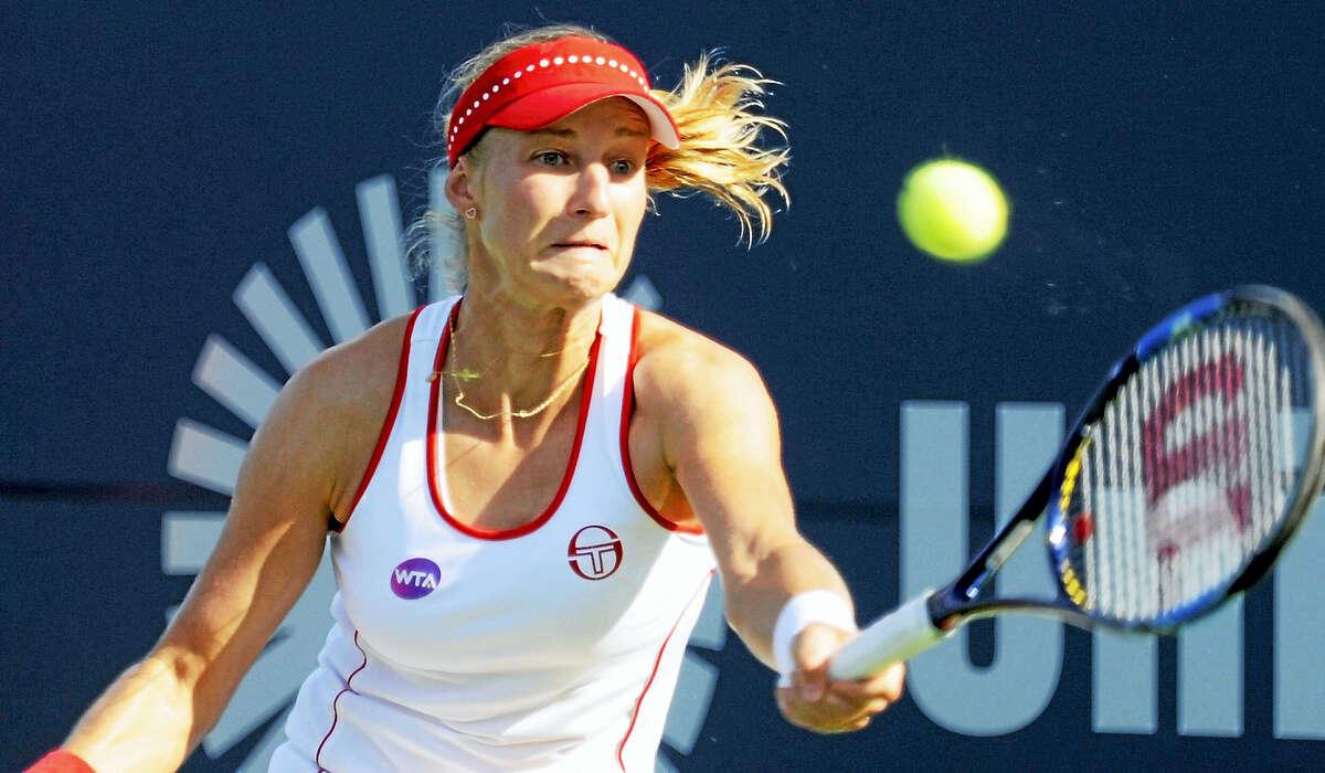 Ekaterina Makarova hits a return to Petra Kvitova on Thursday.