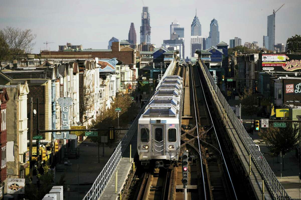 A train moves along the Market-Frankford Line in Philadelphia Wednesday.