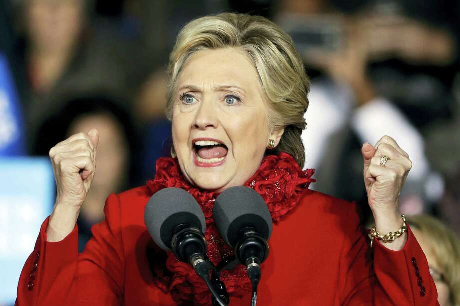 Democratic presidential candidate Hillary Clinton speaks during a campaign stop at the base of the John A. Roebling Suspension Bridge in Cincinnati Monday. Photo: Matt Rourke — The Associated Press   / Copyright 2016 The Associated Press. All rights reserved.