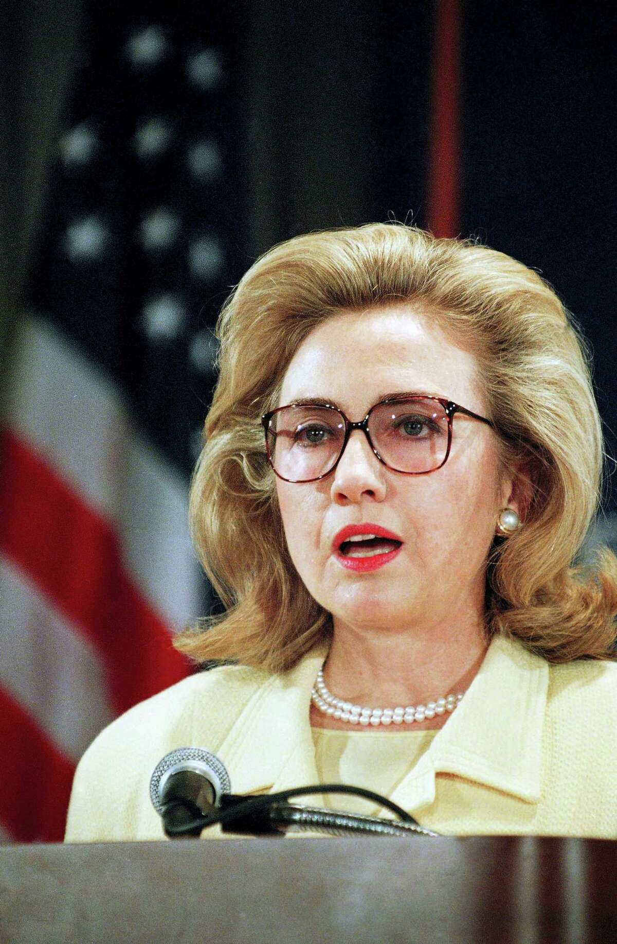 In this Aug. 14, 1995 photo, first lady Hillary Clinton addresses the Presidential Advisory Committee on Gulf War Veterans' Illnesses in Washington. The committee was set up to provide recommendations on government activities relating to Gulf War veterans' illnesses.
