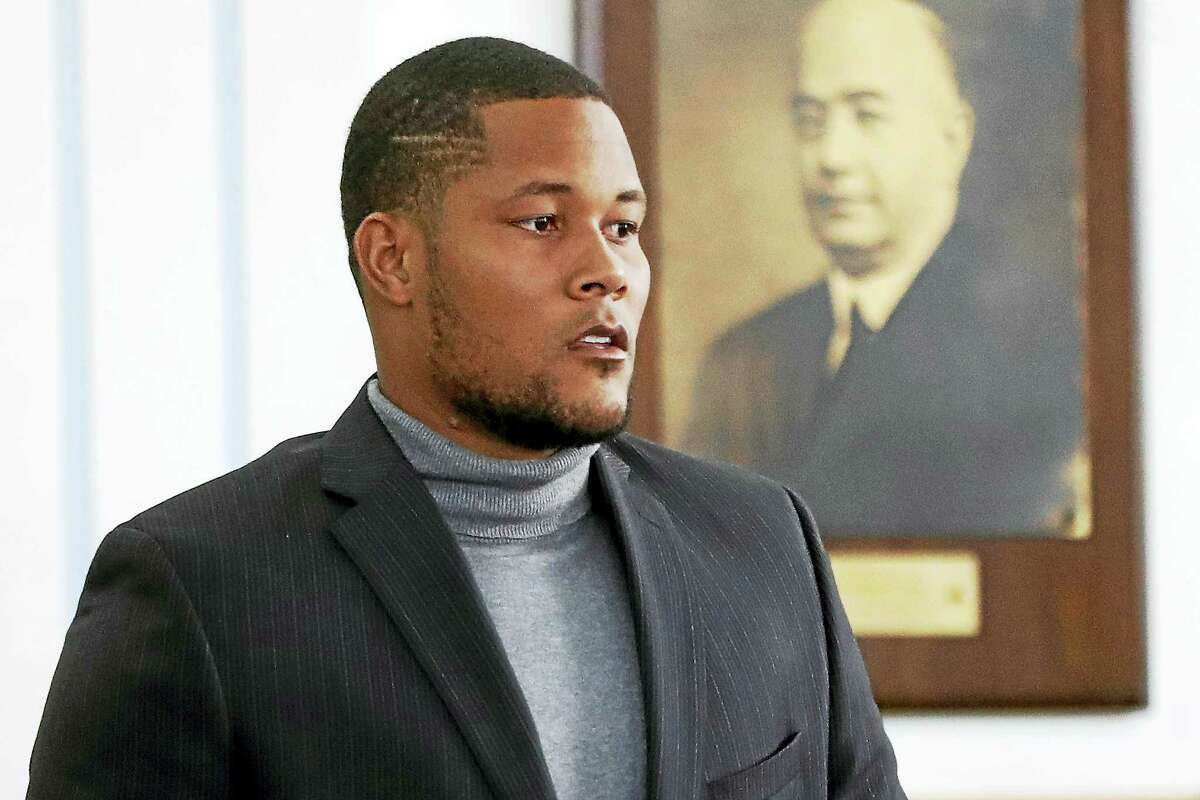 Mets pitcher Jeurys Familia walks toward the bench for a hearing at the Fort Lee Municipal Court, Thursday in Fort Lee, N.J.