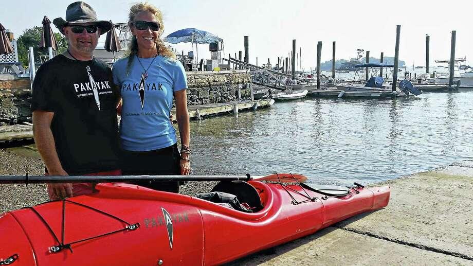 Jason Diaz -- New Haven Register  Doug and Zinelle Mackro of Higganum with a Pakayak. Photo: Journal Register Co.