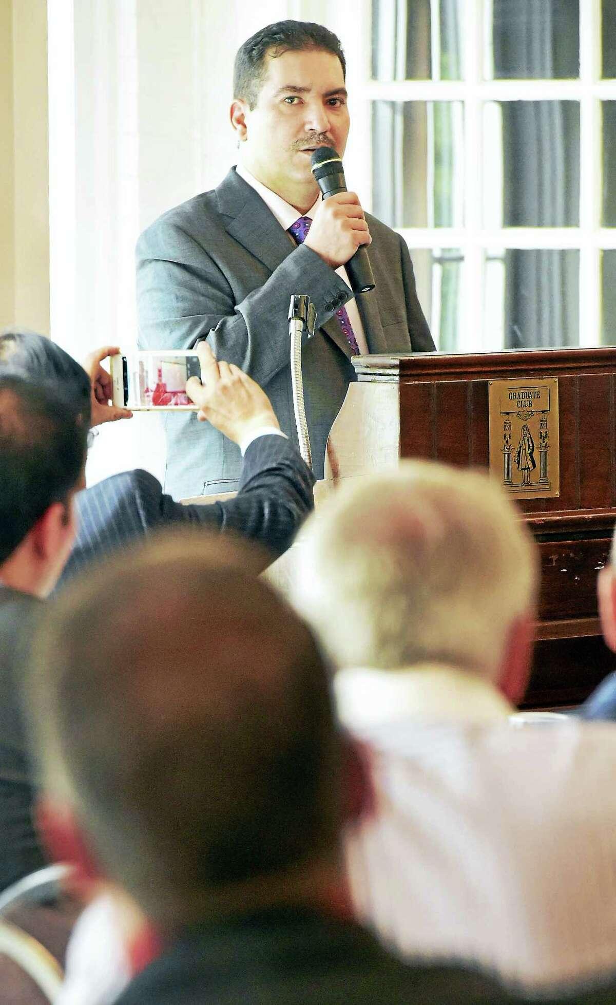 Prince Turki Bin Mohammed Bin Nasser Bin Abdulaziz Al Saud speaks during an International Trade Forum Wednesday at the Graduate Club in New Haven.