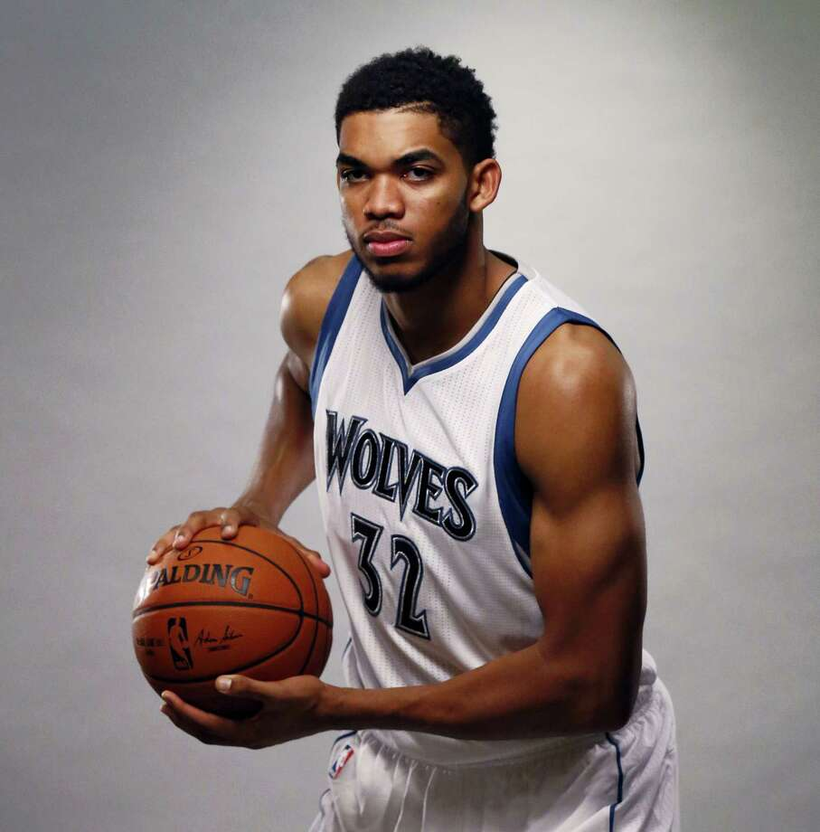 In this Sept. 28, 2015 photo, Minnesota Timberwolves center Karl-Anthony Towns (32) poses during the Timberwolves NBA media day in Minneapolis. Photo: AP Photo/Ann Heisenfelt, File   / FR13069 AP