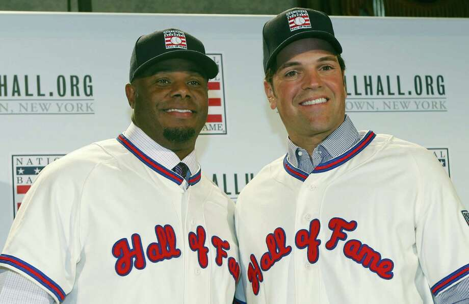 Ken Griffey Jr., left, poses for a photograph with Mike Piazza at a press conference in January. Photo: The Associated Press File Photo   / Copyright 2016 The Associated Press. All rights reserved. This material may not be published, broadcast, rewritten or redistribu
