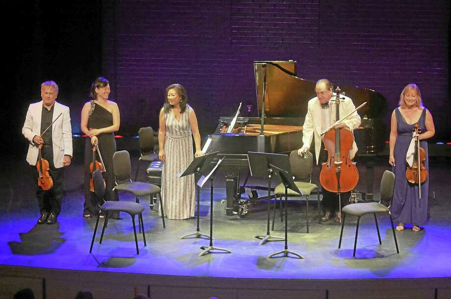 Performing Robert Schumann's piano quintet will be, from left, Todd Phillips, Catherine Cho, Mihae Lee, Ronald Thomas and Cynthia Phelps. Photo: Photo Courtesy Of CHC