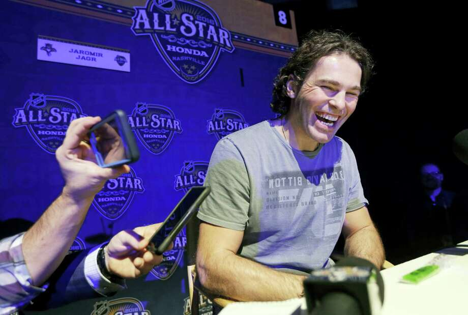 In this Jan. 29, 2016 photo, Florida Panthers forward Jaromir Jagr, of the Czech Republic, laughs as he talks with reporters at the NHL hockey All-Star game media day, in Nashville, Tenn. Jagr is closing in on become the second all-time leading scorer in NHL history. The 44-year-old Florida Panthers wing is within striking distance of passing Mark Messier, who had 1,887 points from 1979-2004. Photo: AP Photo/Mark Humphrey, File   / Copyright 2016 The Associated Press. All rights reserved.