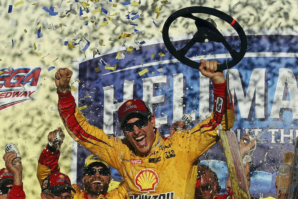 Joey Logano celebrates after winning at Talladega Superspeedway on Sunday.