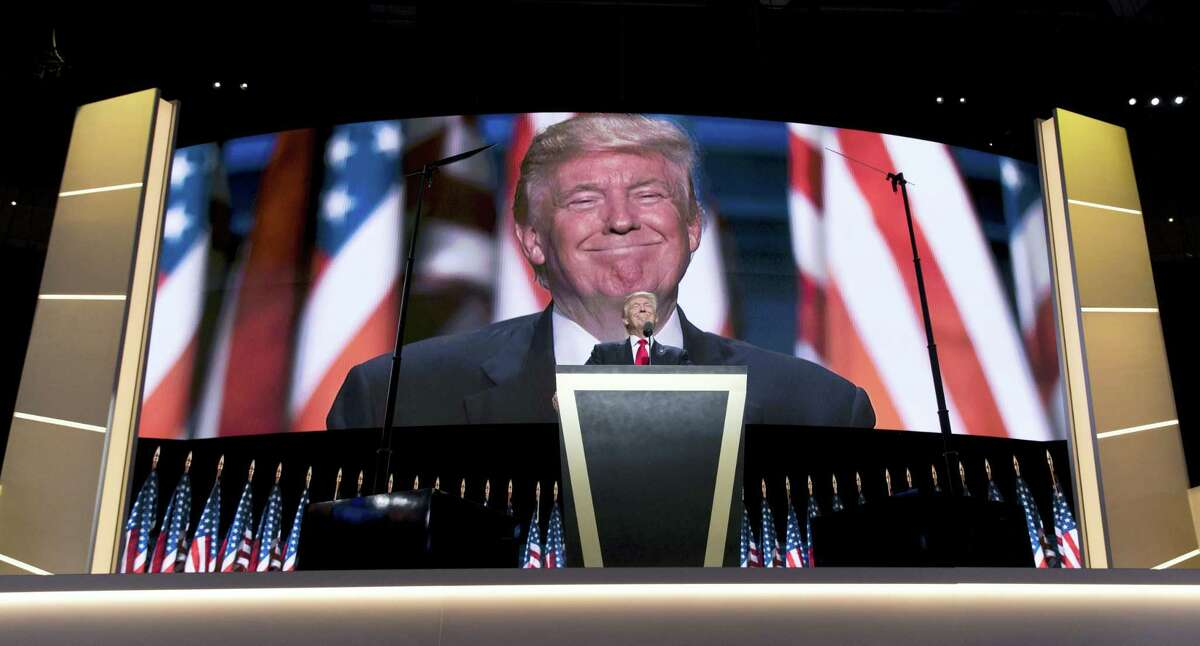 Republican presidential candidate Donald Trump pauses as he speaks during the final day of the Republican National Convention in Cleveland Thursday.