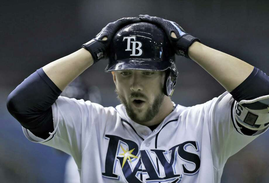 Tampa Bay'S Steven Souza Jr. reacts to making the final out in the team's 2-1 loss to the Boston Red Sox Tuesday. Photo: CHRIS O'MEARA — THE ASSOCIATED PRESS   / Copyright 2016 The Associated Press. All rights reserved. This material may not be published, broadcast, rewritten or redistribu