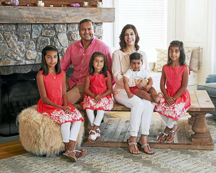 Kamran Farid and his wife, Kara, with their children. L-R: Salma, 10, Azra, 6; Aydin, 1; and Zairah, 8. Photo: Contributed Photo