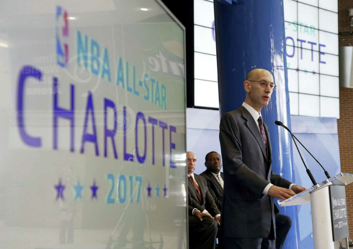 In this Tuesday, June 23, 2015 file photo NBA Commissioner Adam Silver speaks during a news conference to announce Charlotte, N.C., as the site of the 2017 NBA All-Star basketball game. The NBA is moving the 2017 All-Star Game out of Charlotte because of its objections to a North Carolina law that limits anti-discrimination protections for lesbian, gay and transgender people Thursday.