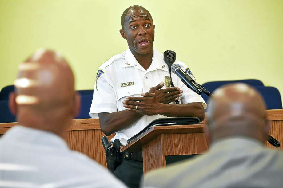New Haven Police Department Acting Chief Anthony Campbell speaks at a meeting with members of the Greater New Haven Clergy Association Tuesday at First Calvary Baptist Church in New Haven. Photo: Catherine Avalone — New Haven Register   / New Haven RegisterThe Middletown Press