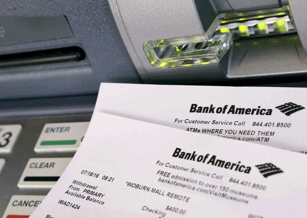 This July 18, 2016 photo shows printouts from a Bank of America ATM, in Woburn, Mass. Bank fees are bothersome, but they are often avoidable. ATM fees, overdraft fees and monthly account maintenance fees are the ones most commonly faced by consumers, according to experts.