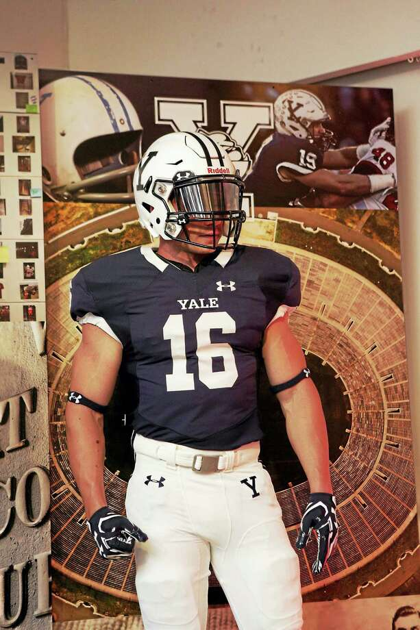 The new Yale football uniforms were unveiled on Thursday at an event in New York. Photo: Photo Courtesy Of Under Armour