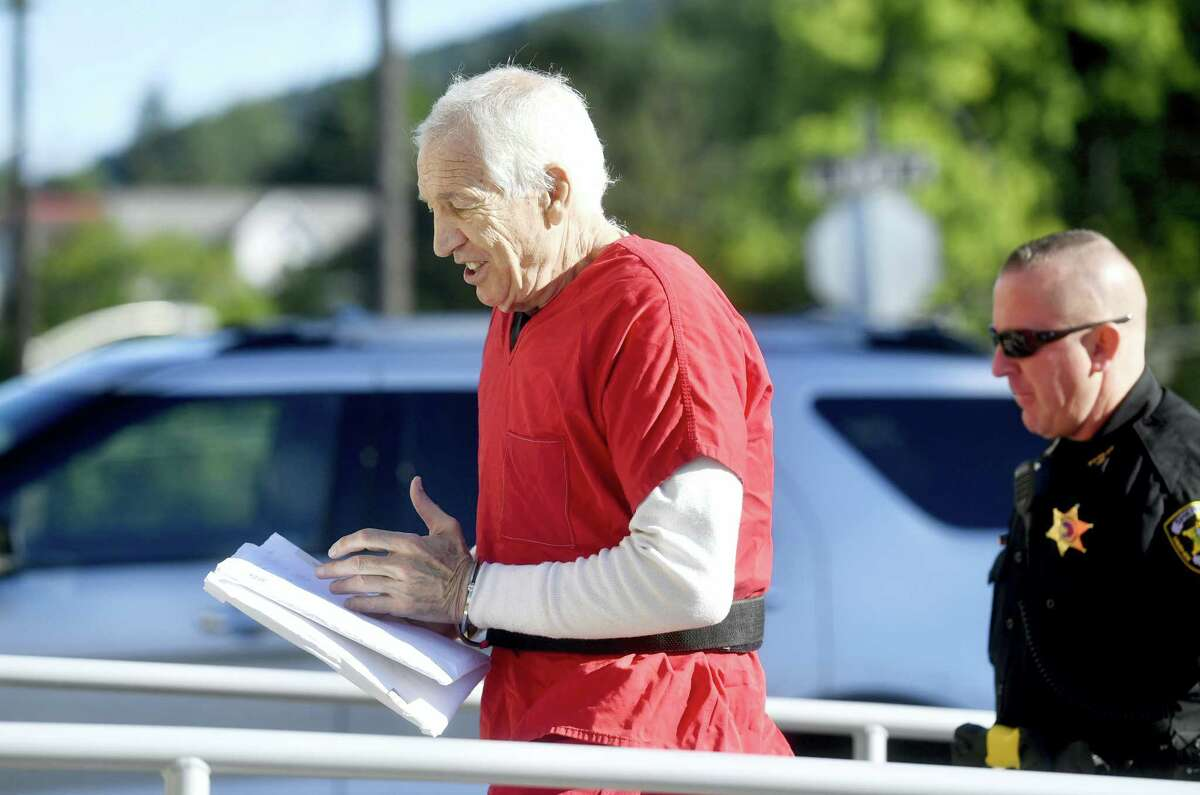 Jerry Sandusky arrives at the Centre County Courthouse on Aug. 22, 2016, in Bellefonte, Pa. The second day of Sandusky's appeal hearing is getting underway on Monday. The former Penn State assistant football coach insists he's innocent and is seeking to have his 45-count conviction thrown out or to get a new trial.