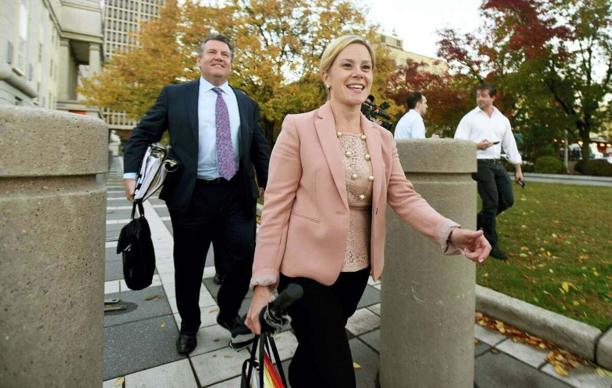 Bridget Kelly leaves the federal courthouse, Friday, Oct. 21, 2016, in Newark, N.J. Republican Gov. Chris Christie approved of a traffic study on the George Washington Bridge, Bridget Kelly his former deputy chief of staff testified Friday in her criminal trial, but federal prosecutors say it was actually a cover story for a political payback scheme designed to cause traffic jams.