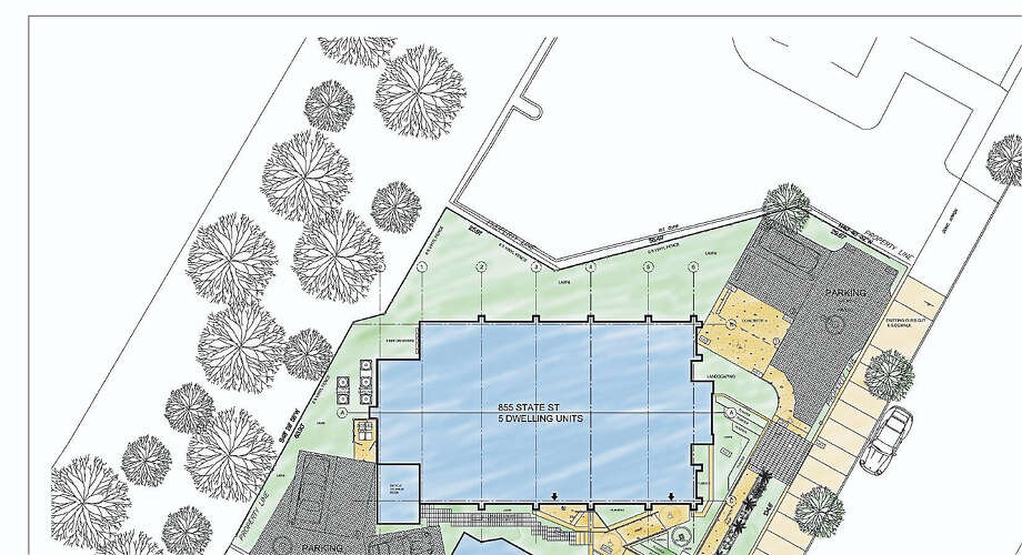 Schematic of the site plan for 855 State St. where a long closed church and rectory will be converted to housing.  Contributed Photo: Journal Register Co.