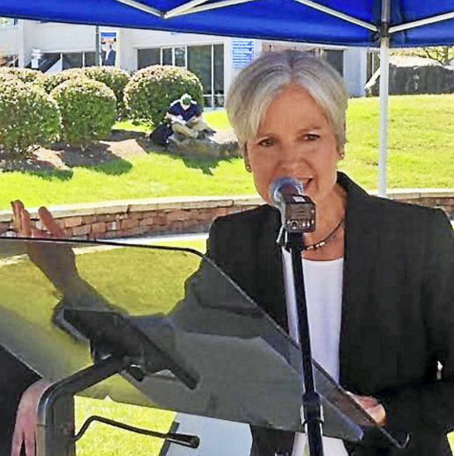 Jill Stein speaks to crowd at CCSU Photo: PHOTO BY JACK KRAMER - CTNEWSJUNKIE