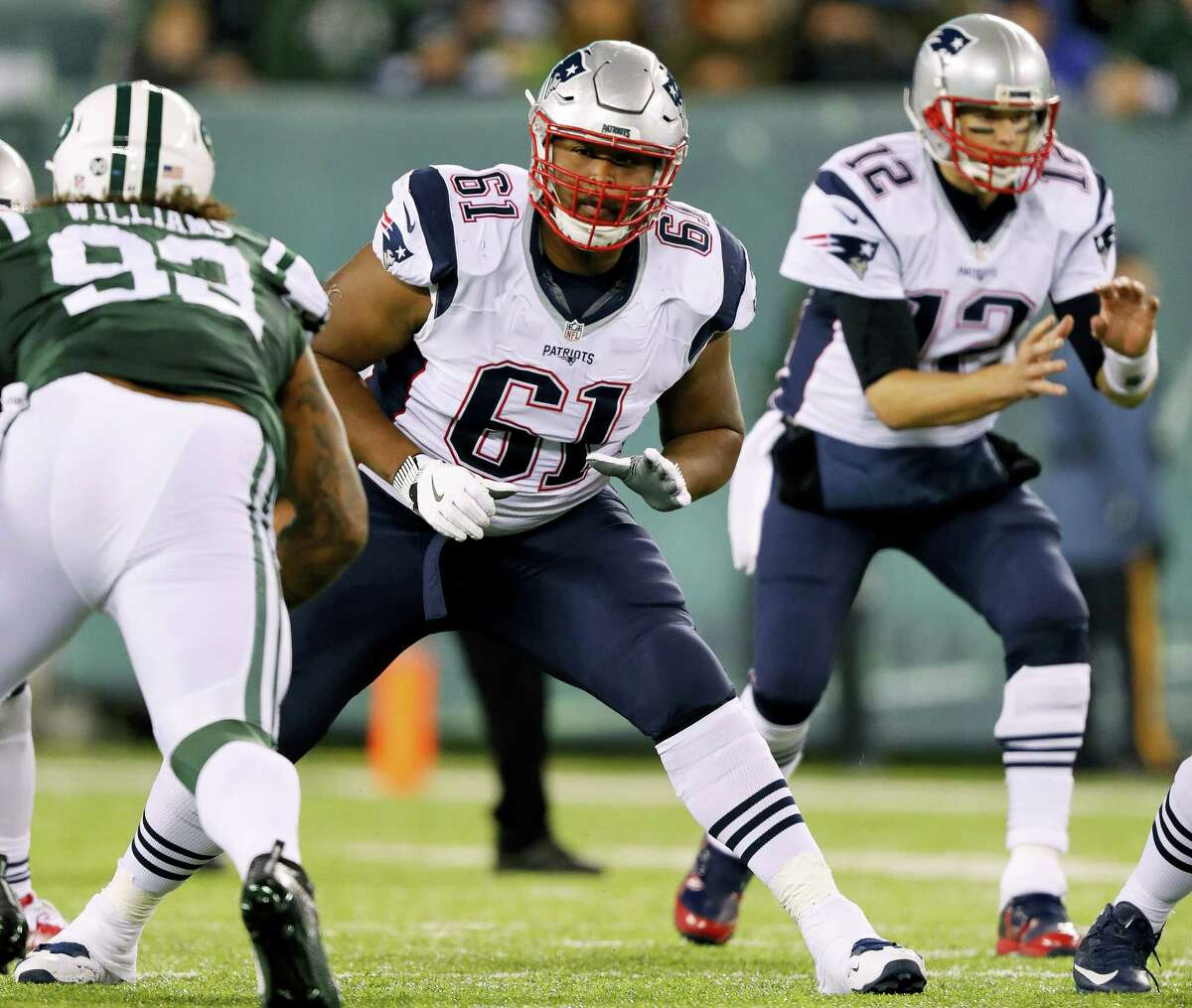 New England Patriots offensive tackle Marcus Cannon blocks against the New York Jets during an NFL football game at MetLife Stadium in East Rutherford, N.J. Sunday, Nov. 17, 2016.