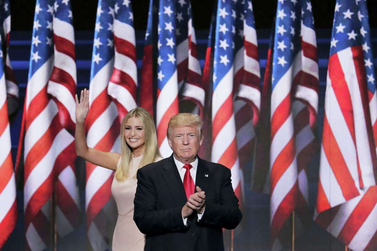 Ivanka Trump, daughter of Republican Presidential Nominee Donald J. Trump, waves as she walks off stage after introducing her father during the final day of the Republican National Convention in Cleveland Thursday.