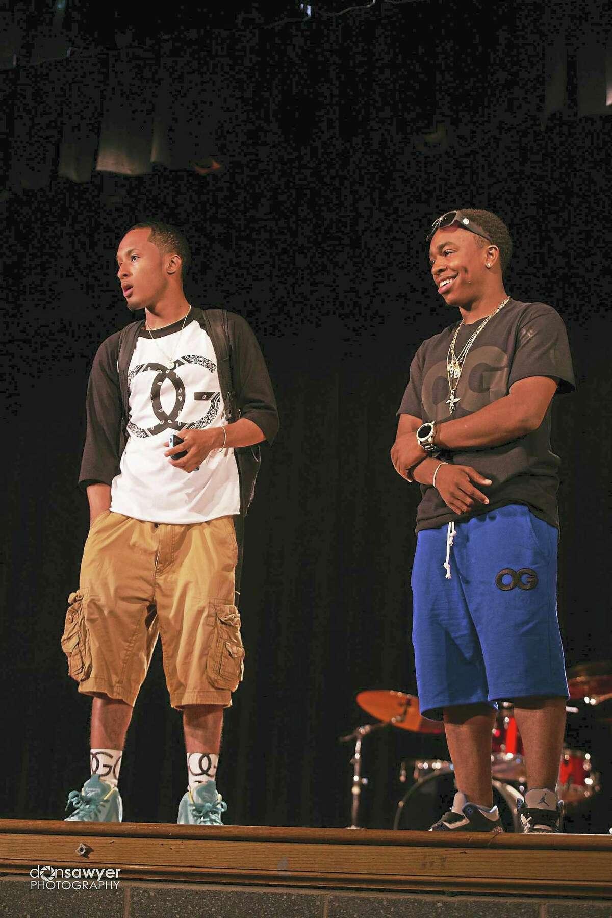 Rappers/organizers AR, left, and GeeBandz.