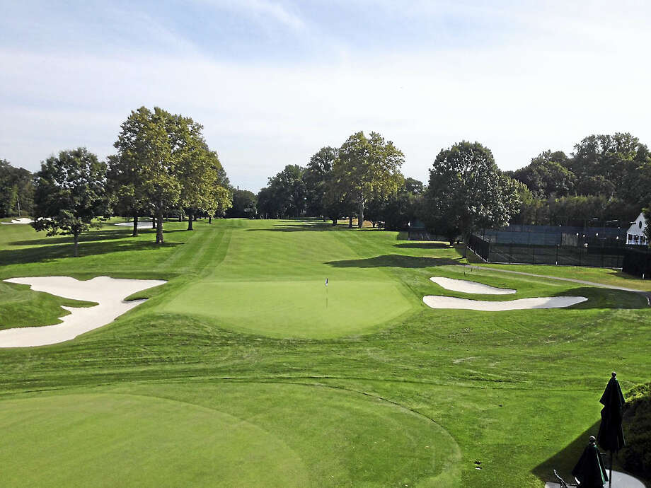 Joe Morelli/RegisterThe 18th hole at Brooklawn Country Club in Fairfield, which is hoping to host the 2021 Solheim Cup. Photo: Journal Register Co.