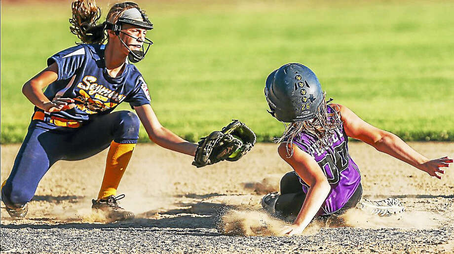 Seymour's U12 Girl's little league softball team defeated North Branford Tuesday evening in Simsbury to claim the Connecticut state championship title and advance to the East Regional tournament in Bristol. Photo: John Vanacore — The New Haven Register