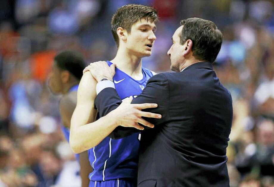 Duke guard Grayson Allen (3) and Duke head coach Mike Krzyzewski talk during a game last season. Photo: The Associated Press File Photo   / AP