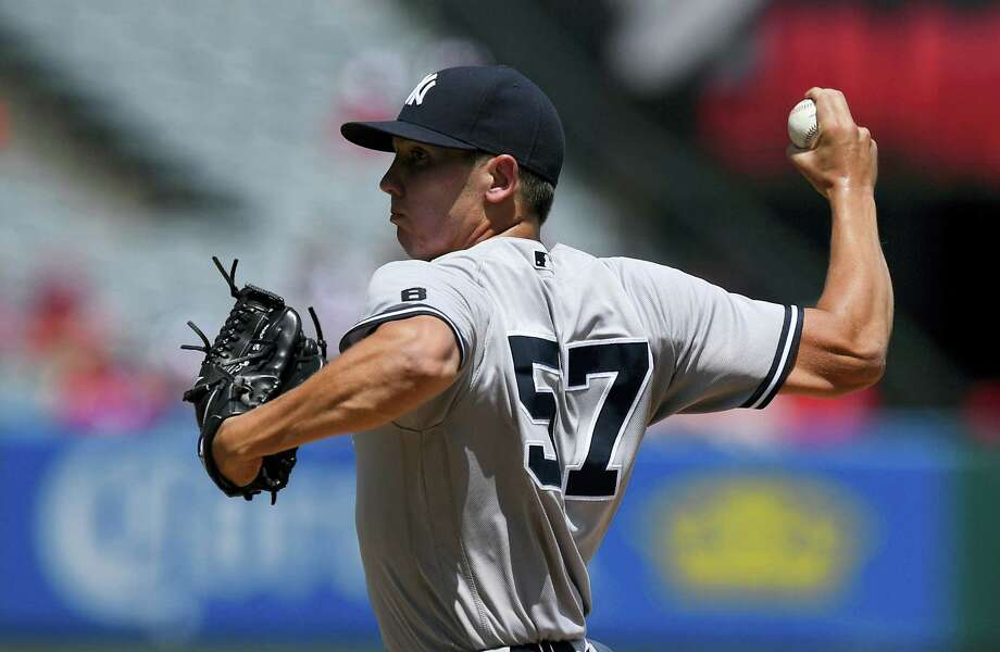 Yankees starting pitcher Chad Green throws during the first inning Sunday. Photo: Mark J. Terrill — The Associated Press   / Copyright 2016 The Associated Press. All rights reserved. This material may not be published, broadcast, rewritten or redistribu