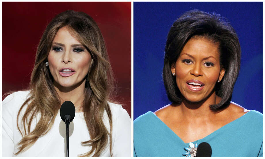 In this combination of photos, Melania Trump, left, wife of Republican Presidential Candidate Donald Trump, speaks during the opening day of the Republican National Convention in Cleveland, Monday, July 18, 2016, and Michelle Obama, wife of Democratic presidential candidate, Sen. Barack Obama, D-Ill., speaks at the Democratic National Convention in Denver, Monday, Aug. 25, 2008. Melania Trump's well-received speech Monday to the Republican National Convention contained passages that match nearly word-for-word the speech that first lady Michelle Obama delivered in 2008 at the Democratic National Convention. Photo: AP Photos    / AP