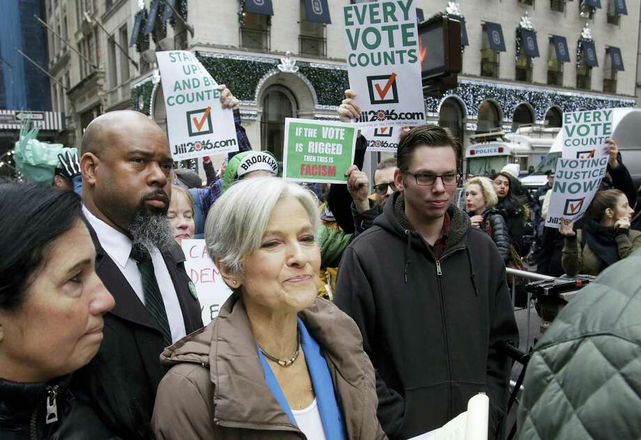 Jill Stein, the presidential Green Party candidate, arrives for a news conference in front of Trump Tower on Dec. 5, 2016 in New York. Stein is spearheading recount efforts in Pennsylvania, Michigan and Wisconsin. Photo: AP Photo/Mark Lennihan   / Copyright 2016 The Associated Press. All rights reserved.
