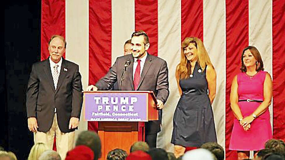 JR Romano at a Trump rally at Sacred Heart University Photo: CTNEWSJUNKIE.COM FILE PHOTO