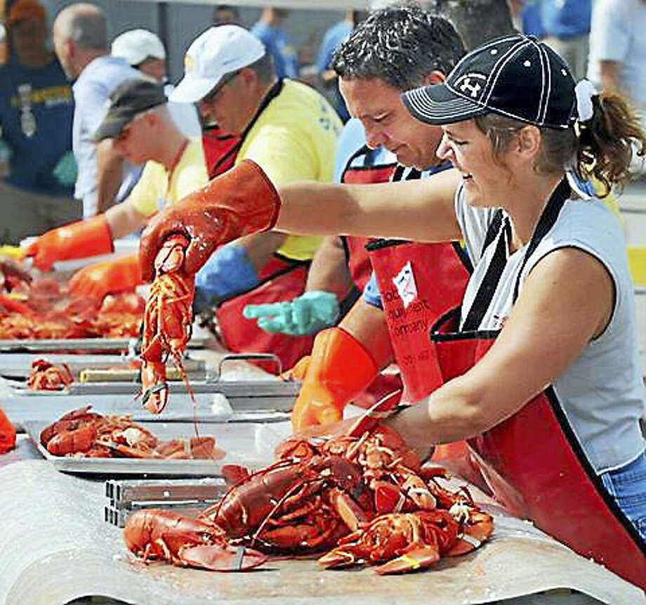Milford Rotary members serve lobsters in 2013. Photo: MARA LAVITT — NEW HAVEN REGISTER FILE PHOTO