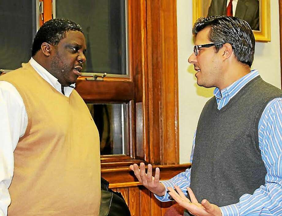 NAACP President Greg Johnson and Corporation Council John Marini. Photo: Jean Falbo - New Haven Register