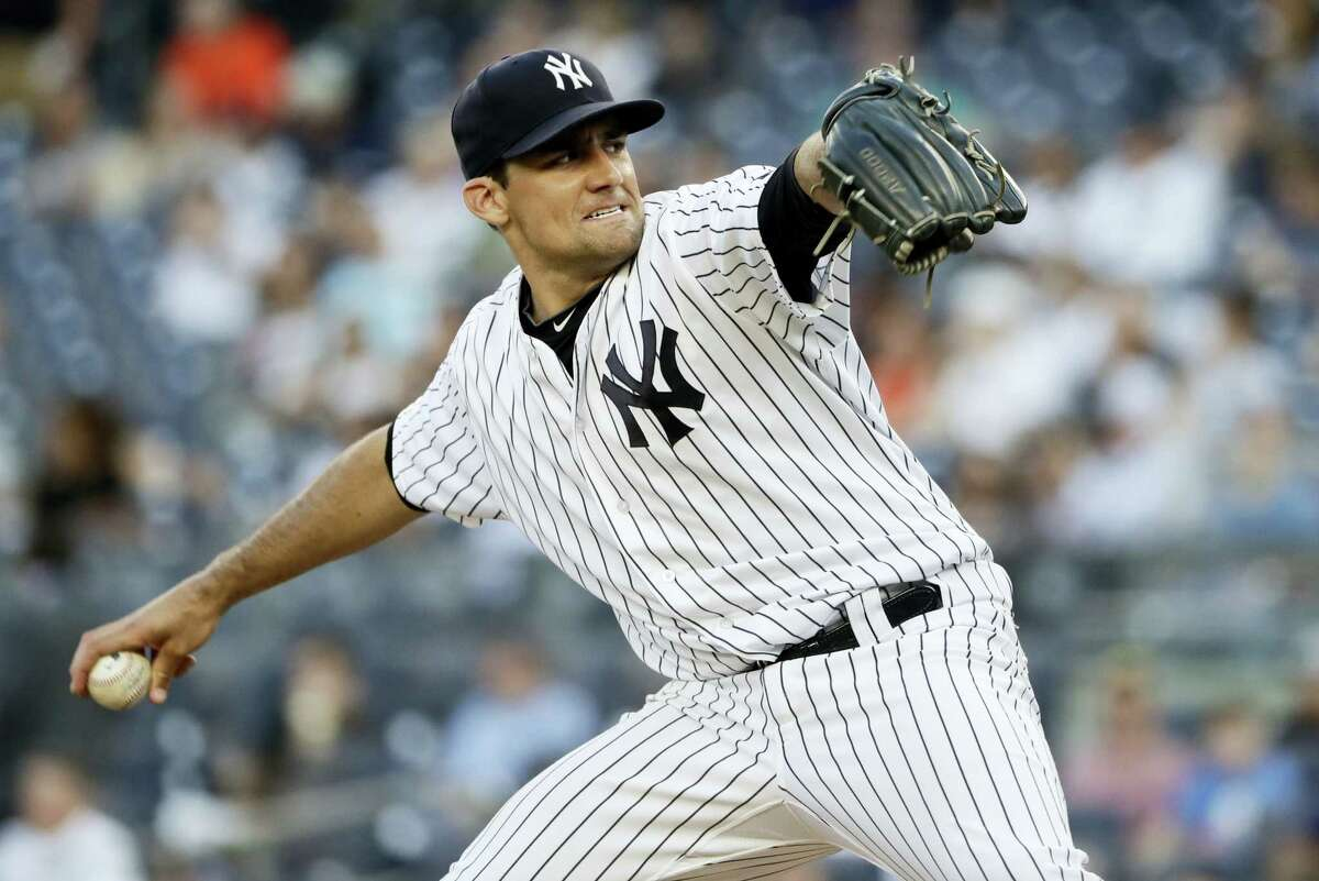 New York's Nathan Eovaldi delivers a pitch during the first inning against the Baltimore Orioles Tuesday.