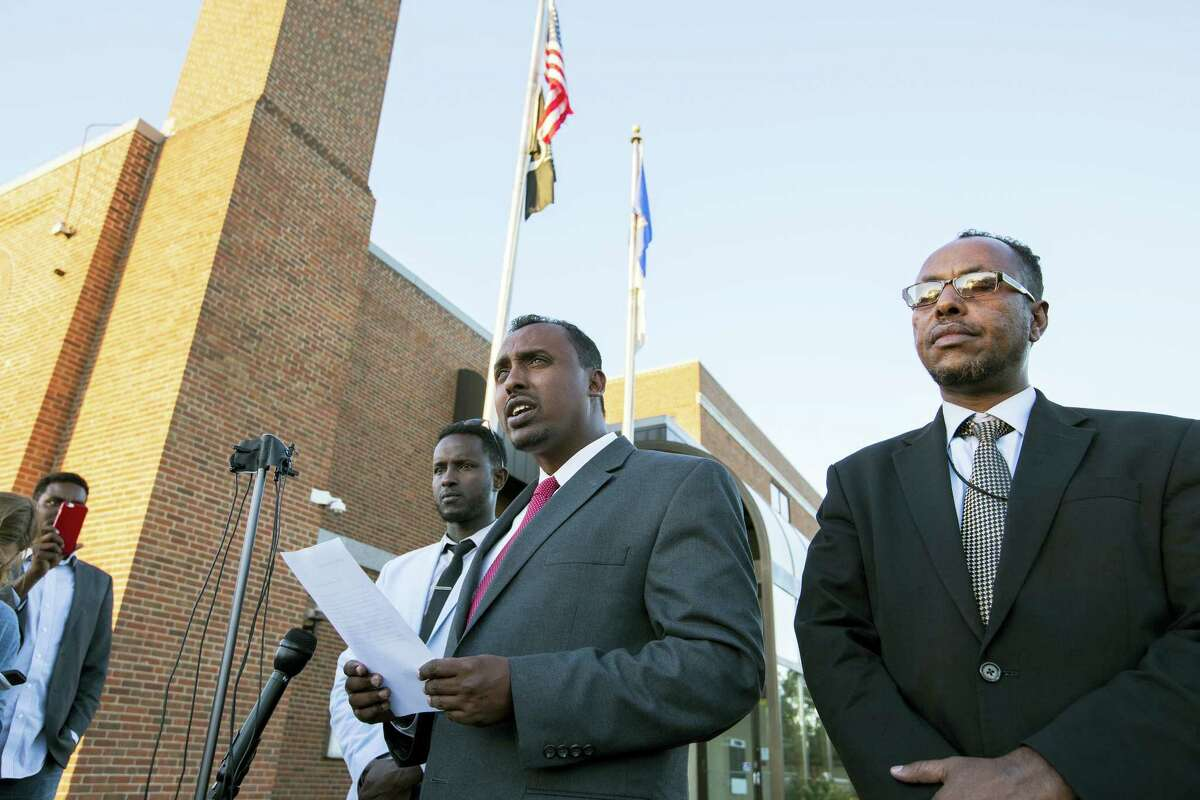 Abdulwahid Osman, the lawyer for the family of Dahir Ahmed Adan, speaks during a news conference at St. Cloud City Hall in St. Cloud, Minn., Monday, Sept. 19, 2016. Adan went to a central Minnesota mall and cut or stabbed 10 people before he was shot and killed by an off-duty police officer on Saturday.
