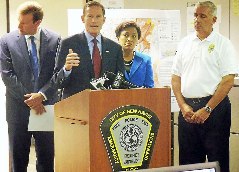 U.S. Sens. Richard Blumenthal and Chris Murphy, New Haven Mayor Toni Harp and Deputy Director of Emergency Operations Rick Fontana talked about the importance of hurricane preparedness Friday at the city's Emergency Operations Center on Orange Street. Forecasters are predicting this hurricane season will be one of the worst in years. Photo: Wes Duplantier — New Haven Register