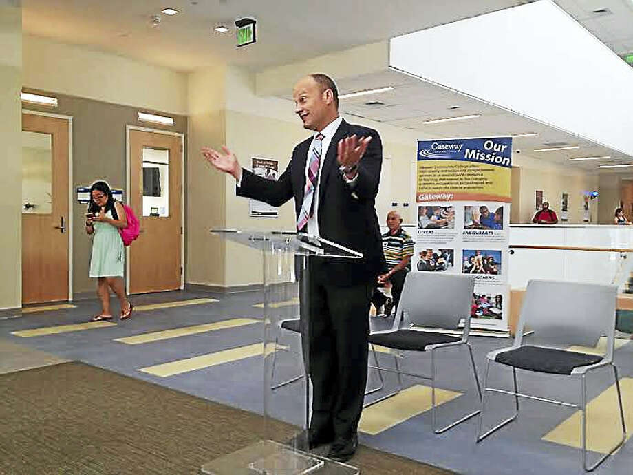 New Haven Superintendent of Schools Garth Harries speaks at a press event Tuesday about expanding and continuing partnerships with Gateway Community College. Photo: Brian Zahn — New Haven Register