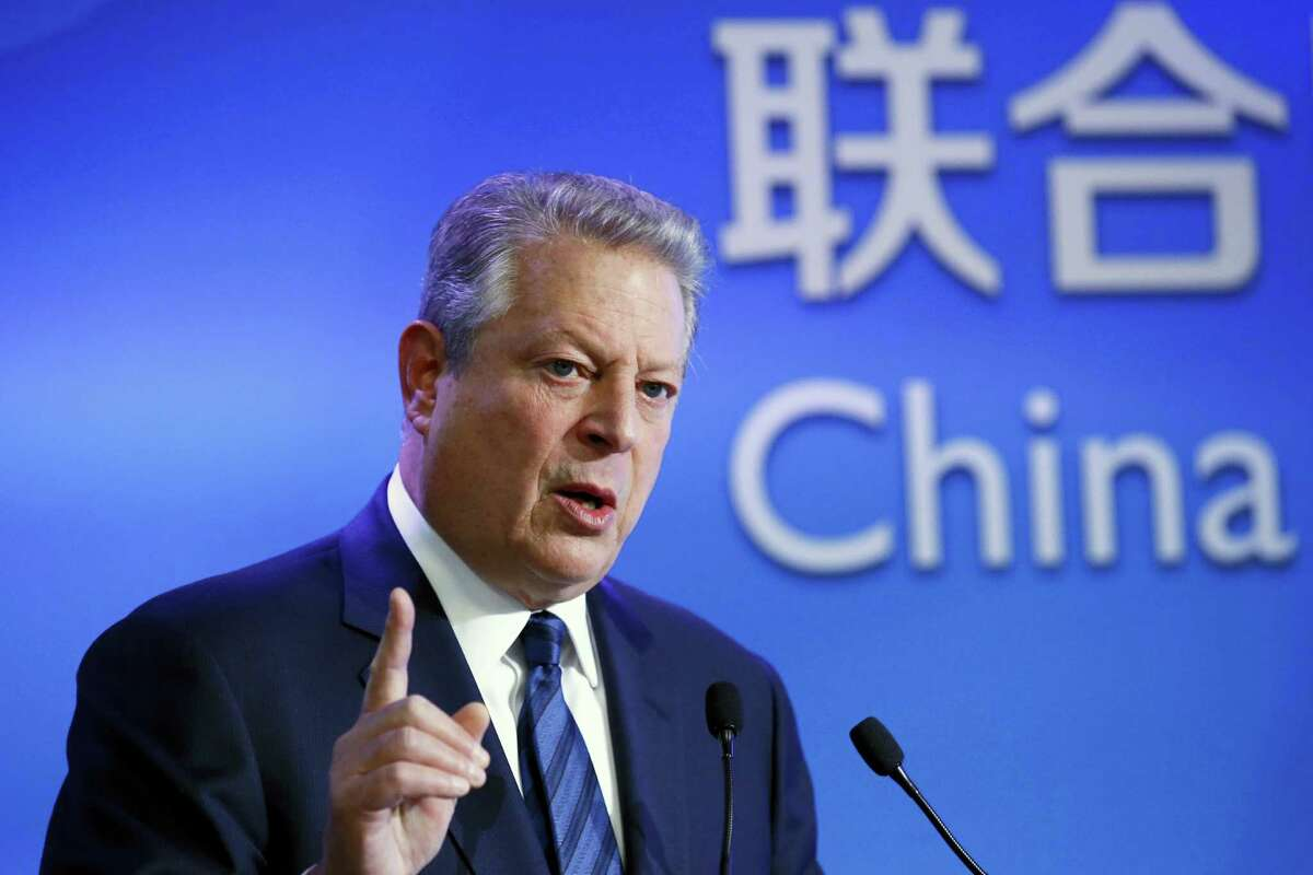 Former U.S. Vice President Al Gore delivers his speech about the importance of China in the global warming during a meeting at China Pavillon as part of the COP21, United Nations Climate Change Conference, in Paris Dec. 3, 2015.