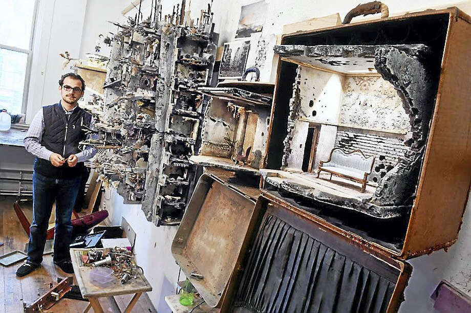 Mohamad Hafez shows some of his work at his studio at West River Arts in New Haven. Photo: Arnold Gold — New Haven Register