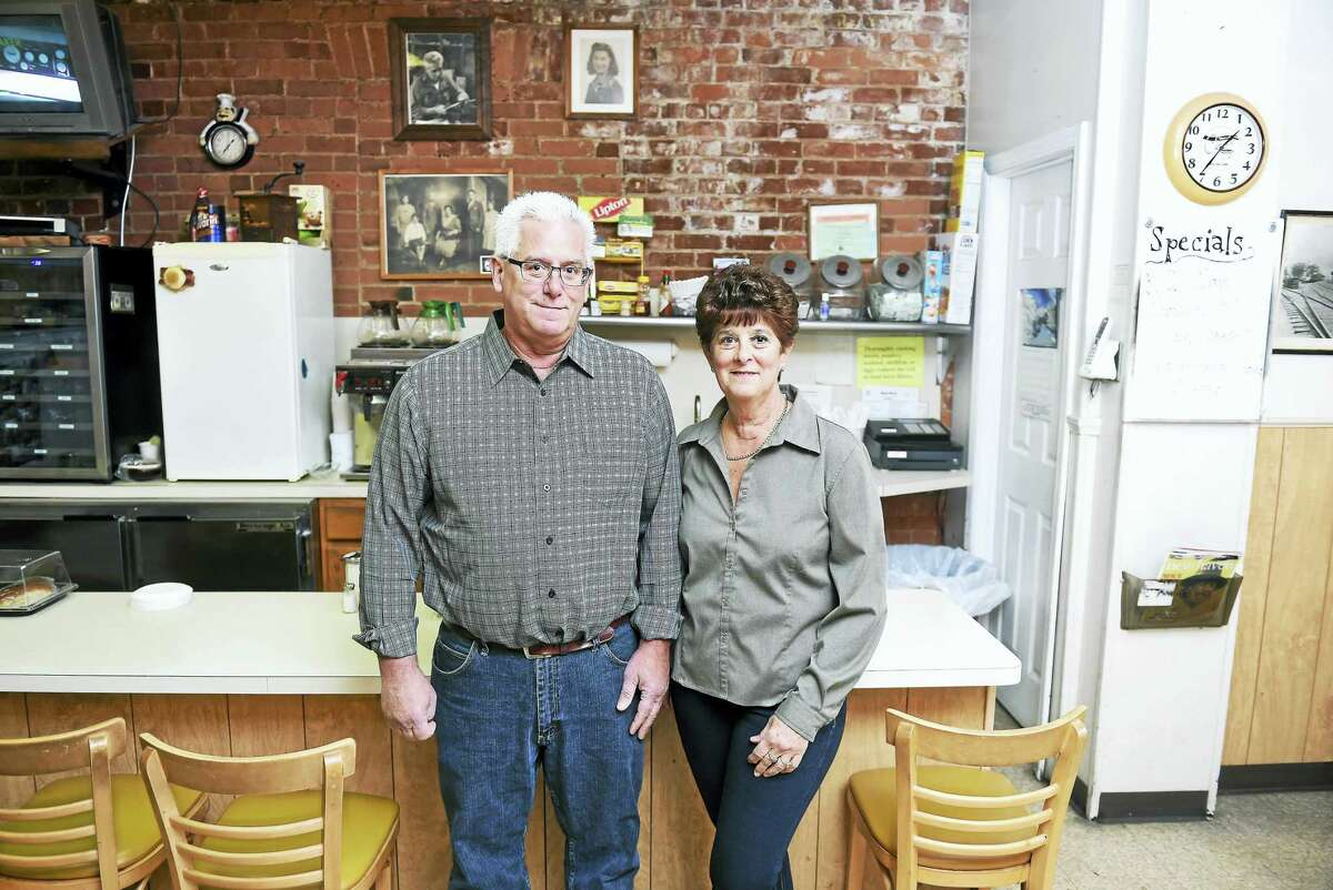 Lou Ditolla, owner of Main Street Lunch, with his sister and long time assistant, Dee Remmey, at their restaurant on Main Street in Branford.