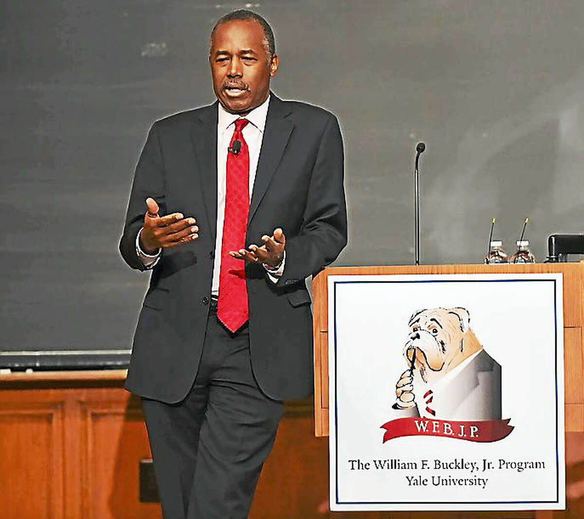 Yale alumnus Ben Carson, recently tapped as secretary of Housing and Urban Development by President-elect Donald Trump, speaks Thursday at Sheffield-Sterling-Strathcona Hall at Yale University in New Haven.