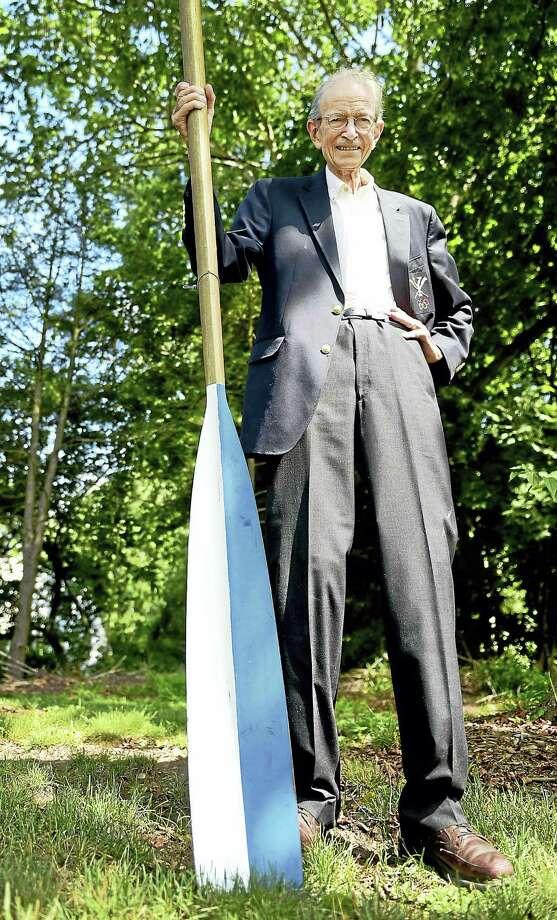(Peter Hvizdak - New Haven Register)  Olympian David Wight, 82, of Guilford, a member of the mens' rowing eights  team from  Yale University that one the gold medal at the Summer Olympics November 27, 1956  on Lake Wendouree in Ballarat, Australia. Photo: ©2016 Peter Hvizdak / ?2016 Peter Hvizdak