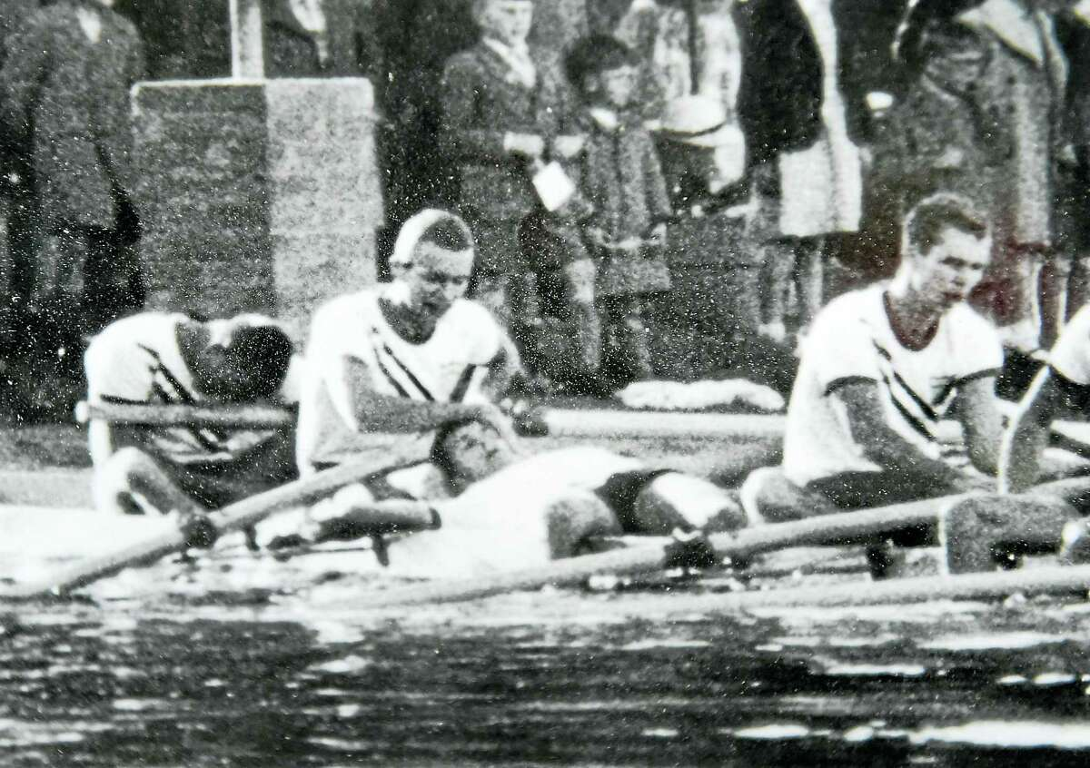(Photo Courtesy of David Wight - New Haven Register) Olympian David Wight of Guilford, second from left, and the mens' rowing eights 1956 Olympic Gold Medal team from Yale University at the Summer Olympics November 27, 1956 on Lake Wendouree in Ballarat, Australia Monday, August 12, 2016.