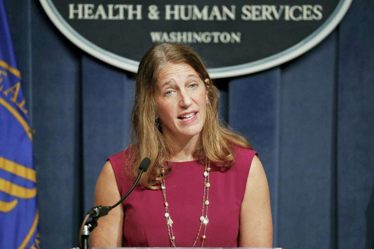 Health and Human Service (HHS) Secretary Sylvia Burwell speaks during a news conference at the HHS in Washington on Oct. 19, 2016. Facing new challenges to a legacy law, the Obama administration set its goals for the president's final health care sign-up season. Burwell said she expects 13.8 million people to sign up.
