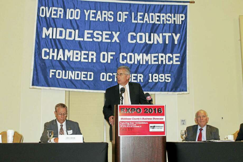 Bob Leduc, president of Pratt & Whitney, addresses the crowd Friday morning at the Middlesex County Chamber of Commerce member breakfast in Cromwell. Photo: Contributed Photo