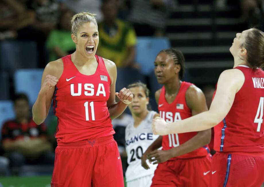Elena Delle Donne (11) celebrates after score against France during Thursday's Olympic semifinal. Photo: Eric Gay — The Associated Press   / AP